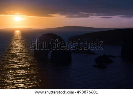 beautiful sunset over the virgin rock and ballybunion coast on the wild atlantic way