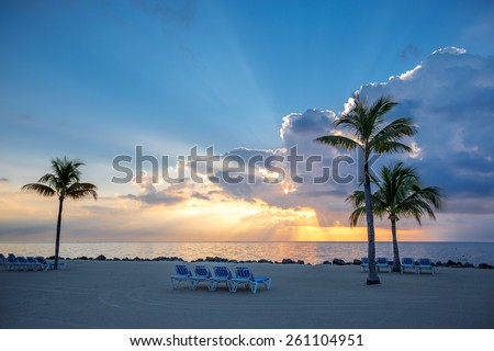 Beautiful sunset over water on Key Largo, Florida, USA - stock photo