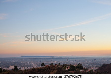 Beautiful Sunset overlooking Hollywood and Los Angeles - stock photo