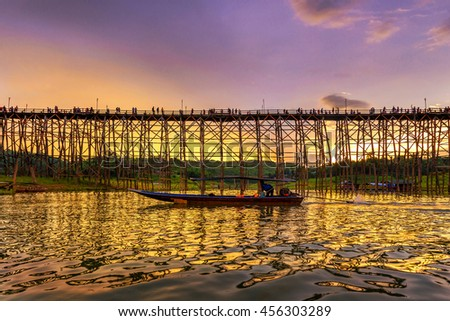 Beautiful sunset scene at old an long wooden bridge at Sangklaburi,Kanchanaburi province, Thailand