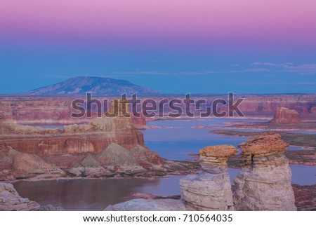 Beautiful sunset scenery on Lake Powell
