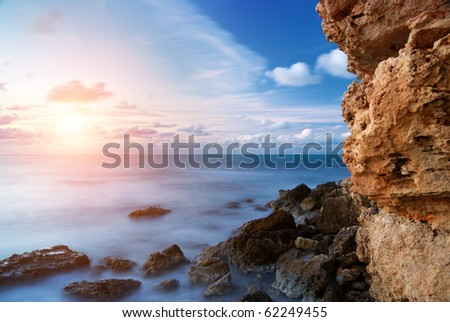 Beautiful sunset seascape. Nature composition.