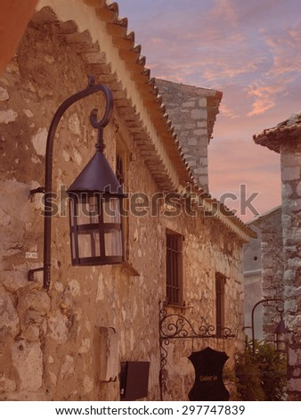 Beautiful Sunset Skies Over Ez, France - stock photo
