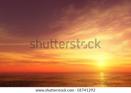 Beautiful sunset sky - stock photo