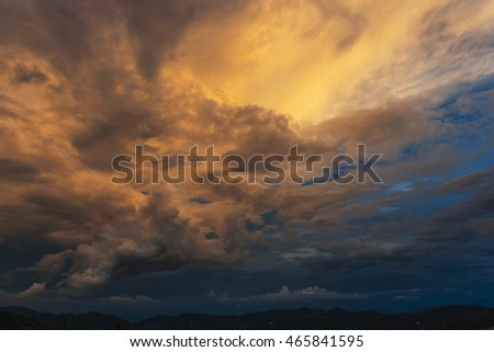 Beautiful Sunset Sky and Cloud in north Thailand.
