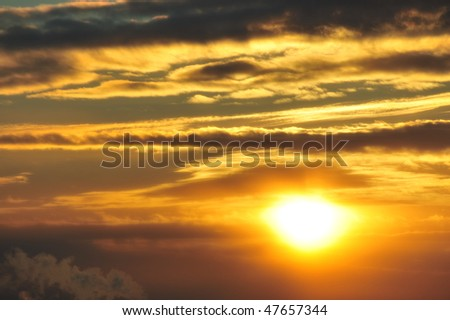 Beautiful sunset sky and clouds in edmonton, alberta, canada - stock photo