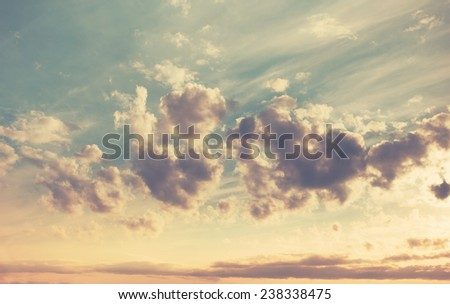 beautiful sunset, sky and clouds, retro film filtered, instagram style  - stock photo