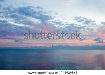 Beautiful Sunset sky and ocean