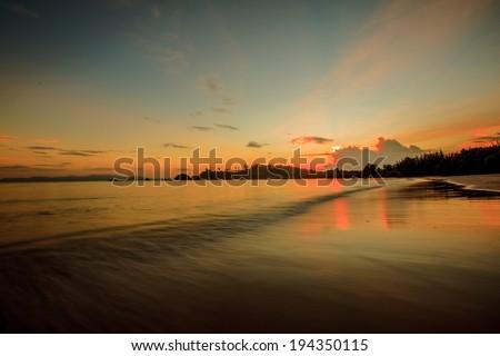 Beautiful sunset sky over Andaman sea, Thailand - stock photo