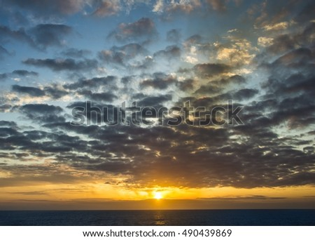 Beautiful sunset sky over the atlantic ocean