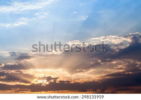 Beautiful sunset sky. Sky Background. - stock photo