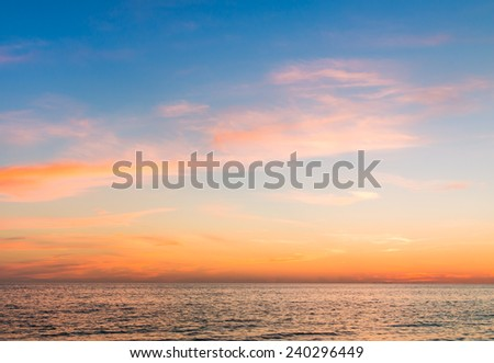 Beautiful sunset sky with cloudscape over the Atlantic ocean - stock photo