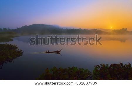 Beautiful sunset ,Thailand - stock photo