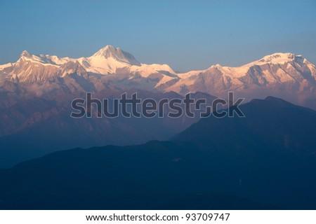 Beautiful sunset time of the Himalayan mountains when see from Sarangkot, Pokhara, Nepal - stock photo