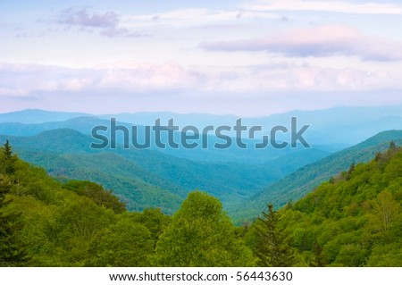 Beautiful sunset view of the Smoky Mountains - stock photo