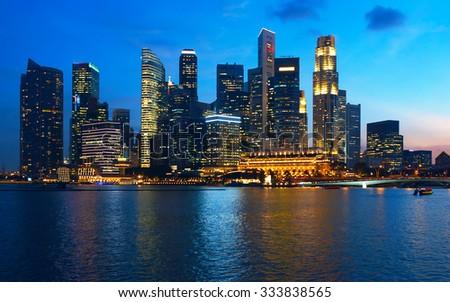 Beautiful sunset view to night Singapore - stock photo
