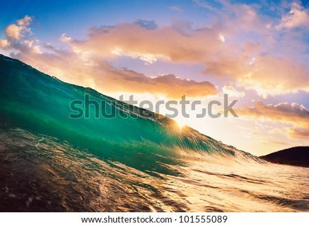 Beautiful Sunset Wave - stock photo