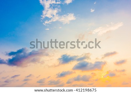 Beautiful sunset with cloud on sky background - Boost up color Processing