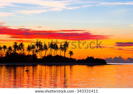 Beautiful sunset with dark silhouettes of palm trees and amazing cloudy sky in Indian island - stock photo