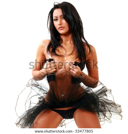 Beautiful suntanned east girl has unbuttoned a corset, isolated on a white background, please see some of my other parts of a body images