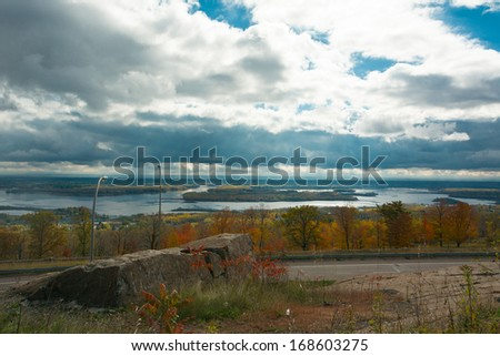 Beautiful Superior Wisconsin and Duluth Minnesota Scenic Overlook - stock photo
