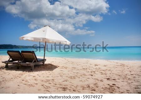 Beautiful surfing sand beach on sunny summer day - stock photo
