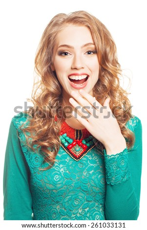Beautiful Surprised Blond Woman isolated on White background. Beautiful Girl opening Mouth. Hairstyle. Makeup - stock photo