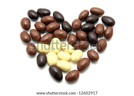 beautiful sweet easter almonds over white background - stock photo