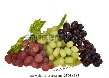 Beautiful sweet fresh harvest of green, red and blue grapes (isolated on white background)