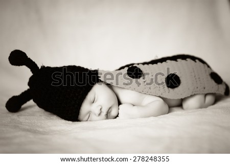 beautiful sweet newborn baby sleeping on a blanket. Black and white photo - stock photo