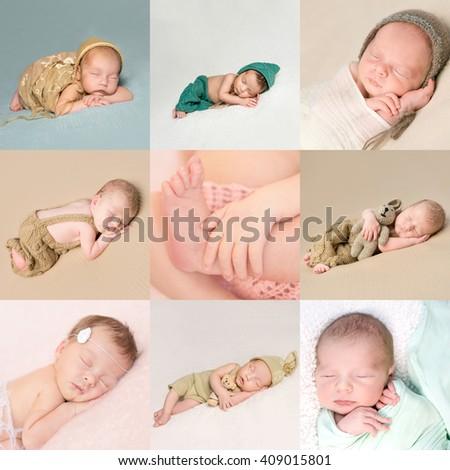 beautiful sweet sleeping newborn babies collage - stock photo