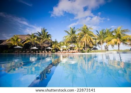 Beautiful swimming pool in luxury resort. Taken in Mauritius - stock photo