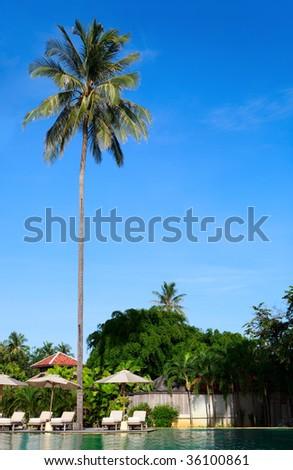 Beautiful swimming pool in luxury tropical resort - stock photo