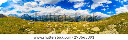 Beautiful Swiss Alps panoramic mountain landscape of the Engadin Mountains in the Corvatsch region near Saint Moritz.
