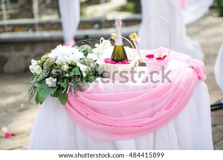 Beautiful table for visiting ceremony with flower arrangement