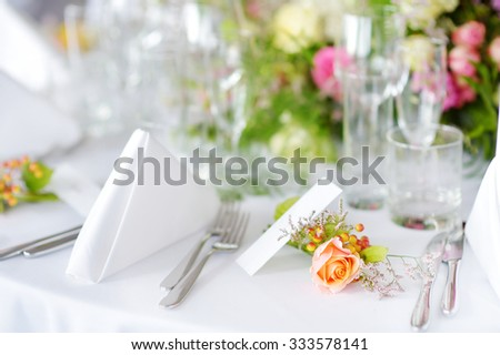 Beautiful table set for some festive event, party or wedding reception - stock photo