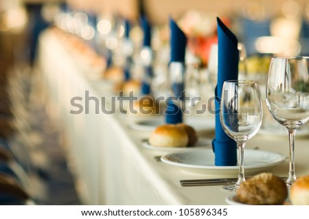 beautiful table setting a festive table for guests at the restaurant - stock photo