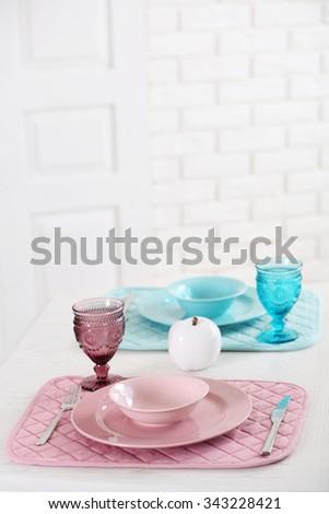 Beautiful table setting, close up - stock photo