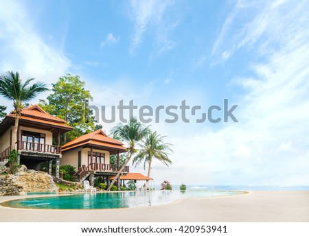 Beautiful Tai bungalow with a swimming pool. Phangan, Thailand.  - stock photo