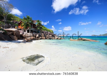 Beautiful Takamaka beach on Mahe island in Seychelles