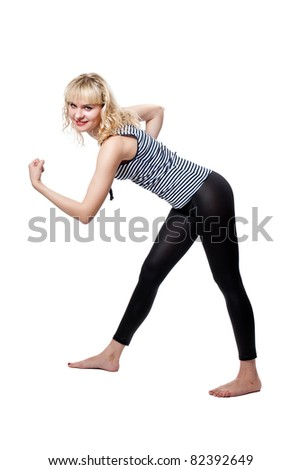 Beautiful tall blonde in athletic pose isolated on white - stock photo