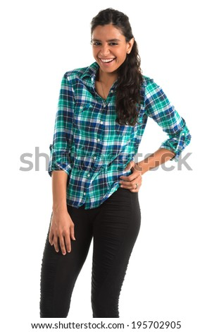 Beautiful tall Indian woman in a plaid blouse