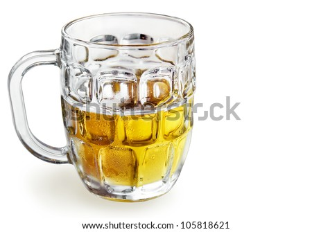 Beautiful, tasty, refreshing cold beer in a glass bock with water droplets or condensation, isolated on white.