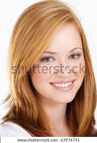 beautiful teen girl, headshot isolated on white - stock photo