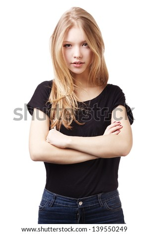 beautiful teen girl portrait - stock photo
