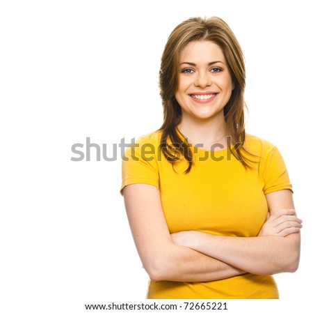 Beautiful teen girl with her hands folded on his chest against white background. - stock photo