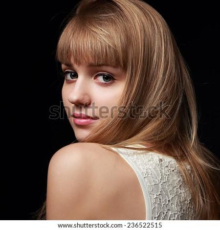 Portrait pretty little girl posing studio stock photo for Beautiful small teen