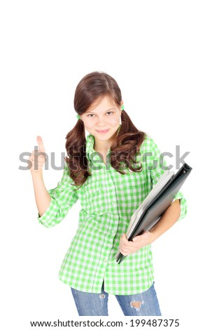 beautiful teen girl with the folder in her hands - stock photo
