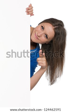 Beautiful teen girl with white blank isolated on white background - stock photo