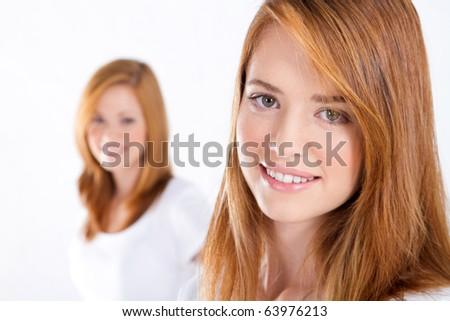 beautiful teen girls on white - stock photo